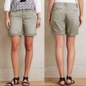 Anthropologie Pilcro Bermuda Chino Green Shorts